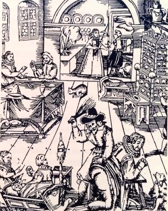 En mann straffer sin kone på 1600-tallet. (Fra BHFS 83/84)
