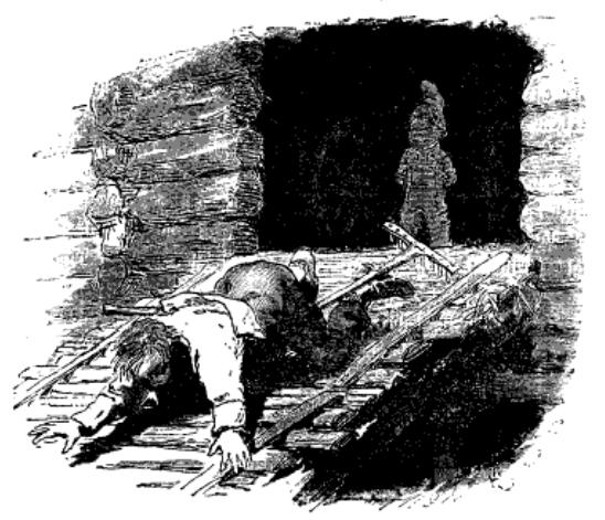 En mann blir kastet ut av en nisse fordi han ikke har passet sine egne saker. (Tegning av H. Gude)