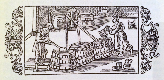 Julebrygging på 1500-tallet. Den som ikke brygget øl til jul, fikk bøter, slo Gulatings kristenrett fast. (Olaus Magnus)