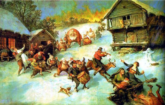 """Julereisen er ute og vandrer på julenatten. (""""Julereia"""" av Nils Bergslien, 1922 (fritt))"""