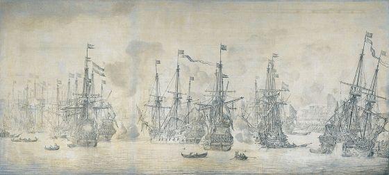 Slaget på Vågen i Bergen, av Willem van Der Velde (1669)