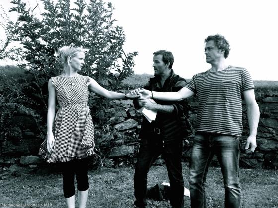 Fra prøver 21. august 2015: Ingvill Skjold Thorkildsen som Lucie, Gard Frostad Knudstad som Nestor Natmand og Arild Vestre som Ditlef