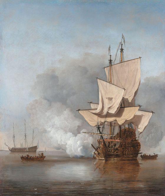 Et nederlandsk krigsskip avfyrer sine kanoner, fra slutten av 1600-tallet. En tilsvarende salve avfyrt omtrent fra Bergen bys sentrum må ha gjort stort inntrykk på byens innbyggere.  (Maleri av Willem van de Velde II. (Fra Wikipedia))