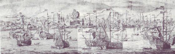 Skisser av slaget på Vågen av Willem van Der Velde