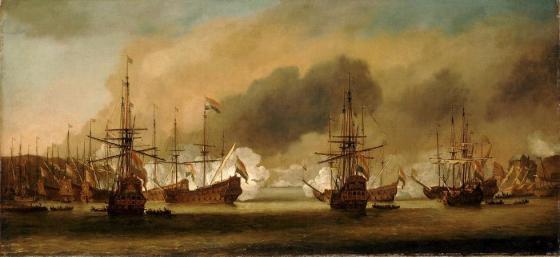 Bergenhus festning var med i slaget fordi de måtte forsvare den nøytrale havnen.  (Maleri av Willem van Der Velde)