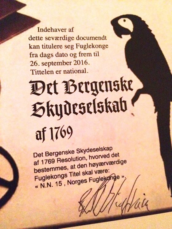 Fuglekongens og Fugledronningens nasjonale rettigheter i et år fremover.