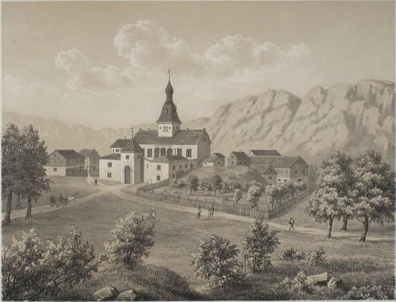 Austrått i 1848. Tegning av Christian Tønsberg (Wikipedia, fritt)