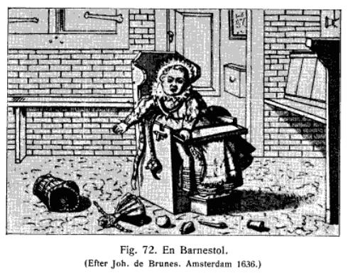 Barnestol på 1600-tallet (faksimile fra Boken Dagligtliv i Norden i det 16de aarhundrede)