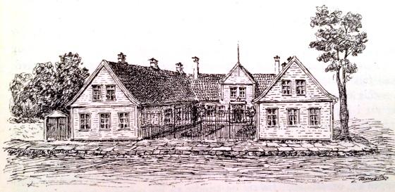 Zander Kaaes Stiftelse, tegnet av Thorvald Olsen, fra boken Gamle Bergensbilleder av Adolp Berg, utgitt 1924