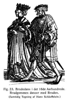 Brudepar på 1500-tallet. (Fra boken Dagligt Liv i det 16nde Aarhunde av Troels-Lund)