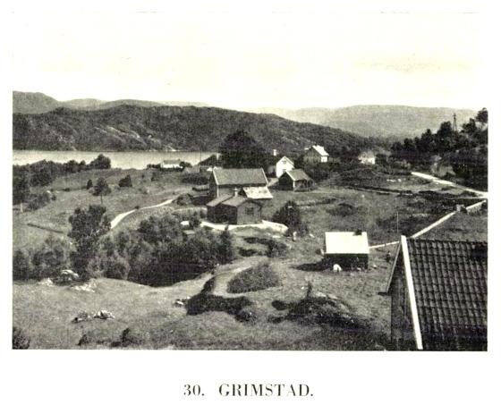 Grimstad gård, trolig på begynnelsen av 1900-tallet (faksimile fra boken Fana II av Hermod Hjellestad, 1933)