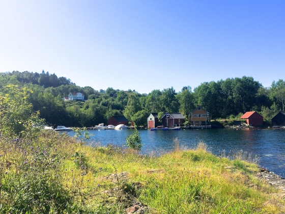 "Grimstad gård sett fra neset som i Nattmannens datter kalles ""Liljekonvallhaugen"". (Foto: May Lis Ruus 2015)"